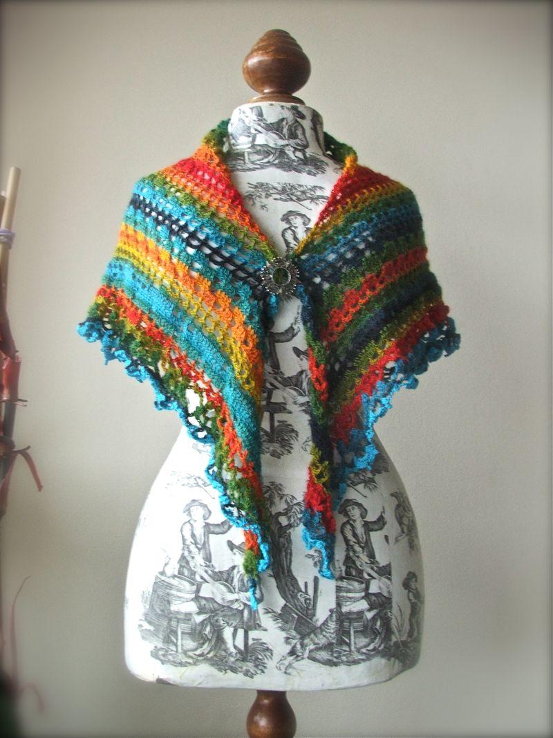 Rainbow Shawl - crochet wrap in rainbow colors